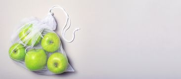 Apples in Mesh Bag, Eco Friendly Bag, Zero Waste Concept royalty free stock photo