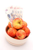 Apples with money Stock Photography
