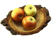 Apples in a Natural Oak Bowl Royalty Free Stock Photography