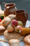 Apples and nuts. Some apples and bread arrangement stock image