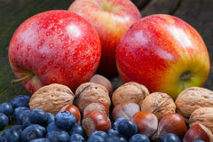 Apples, nuts and blueberries Stock Photo