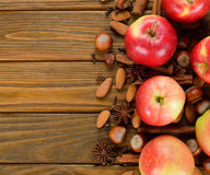 Apples, nuts and spices Royalty Free Stock Photography