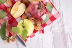 Apples and nuts Royalty Free Stock Images