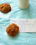 Apples oatmeal cookies and recipe Stock Photography