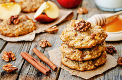 Apples oats cinnamon cookies Royalty Free Stock Photo