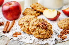 Apples oats cinnamon cookies Stock Photography