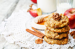 Apples oats cinnamon cookies Stock Photos