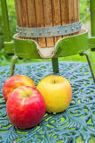 Apples with old fruit press Stock Image