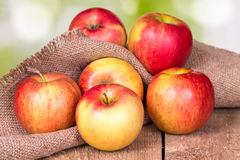 Apples on an old wooden surface. Royalty Free Stock Images