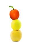 Apples and orange. Balance dieting apples with orange Stock Photo