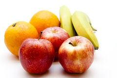 Apples and orange with bananas Stock Images