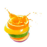 Apples, orange and citrus fruit. Splash juice. Stock Photography