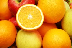 Apples and orange at the marke Royalty Free Stock Image