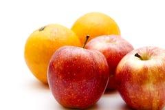 Apples and orange. On white background Stock Photo