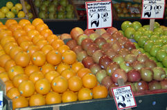 Apples and oranges. At the market Stock Image