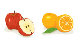 Apples and oranges. Vector illustration - an apple and an orange on a white background stock illustration