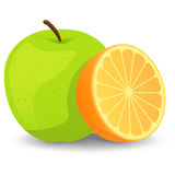 Apples And Oranges. An illustration for the classic comparison to apples and oranges Stock Photography