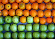 Apples and oranges. Background of green apples and oranges arranged in even rows Royalty Free Stock Photo