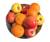 Apples and Oranges. In a ceramic bowl stock photography