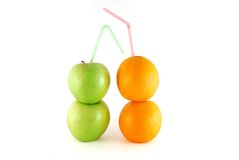 Apples and oranges. Like a glasses wiht juice stock image