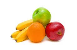 Apples, oranges and bananas on white background Royalty Free Stock Photos