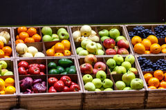 Apples, oranges, grapes, pears, and other fruits and vegetables Stock Photo