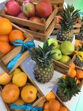 Apples, oranges and pineapples Stock Photo