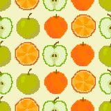 Apples and oranges seamless pattern. Pixel embroidery vector illustration