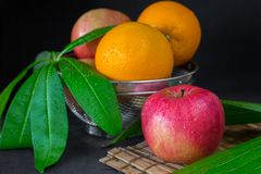 Apple and orange Royalty Free Stock Photos