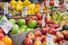 Apples and other fruits for sale at market. Royalty Free Stock Photos