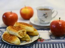 Breakfast. Apples patty with fragrant tea Stock Image