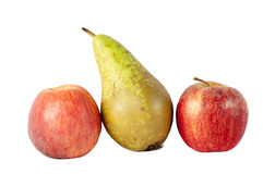 Apples and pear. Isolated on a white Royalty Free Stock Photos