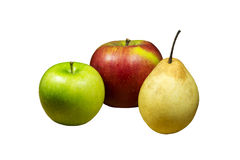 Apples and pear. Red and green apples and pear isolated on white background Stock Photo
