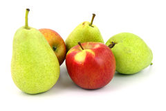 Apples and pears. Isolated on white background Royalty Free Stock Photography