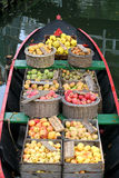 Apples and pears. On a boat Stock Image