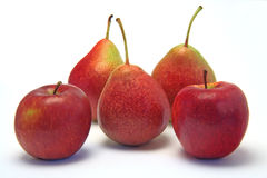 Apples and pears. Juicy apples and pears on white stock photography