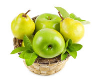 Apples and pears in a basket Stock Photos