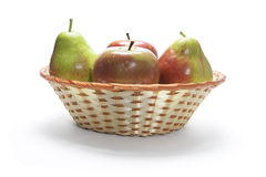 Apples and Pears in Basket Stock Images