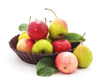 Apples and pears in the basket. Stock Photos
