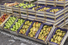 Apples and pears in crates Stock Images