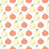 Apples and pears drawn in Japanese cartoon style seamless vector background Royalty Free Stock Image