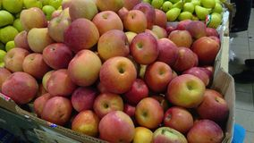 Apples and pears in farmers market Stock Image