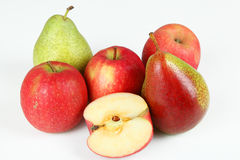 Apples and pears. A few fruits with white background Stock Photography