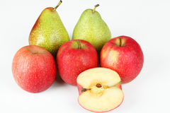 Apples and pears. A few fruits with white background Royalty Free Stock Image