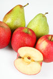Apples and pears. A few fruits with white background Stock Image
