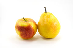 Apples and pears. Are isolated on a white background Royalty Free Stock Photos