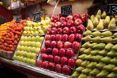Apples and pears on La Boqueria market, Barcelona, Spain Royalty Free Stock Photography