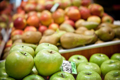 Apples and pears at the market Royalty Free Stock Photo