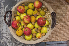 Apples, pears and nuts in a wicker basket. Top view royalty free stock photography