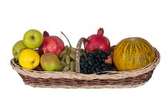 Apples, pears, pomegranates, grapes and melon Stock Photos